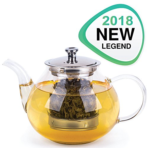 Green Tea Kettle with Infuser - Tempered Glass Tea Pot - Teapot with Filter and Lid - Loose Leaf Tea Maker with Strainer - Stovetop Microwavable Borosilicate Glass - Perfect for Black Blooming or Flowering Tea