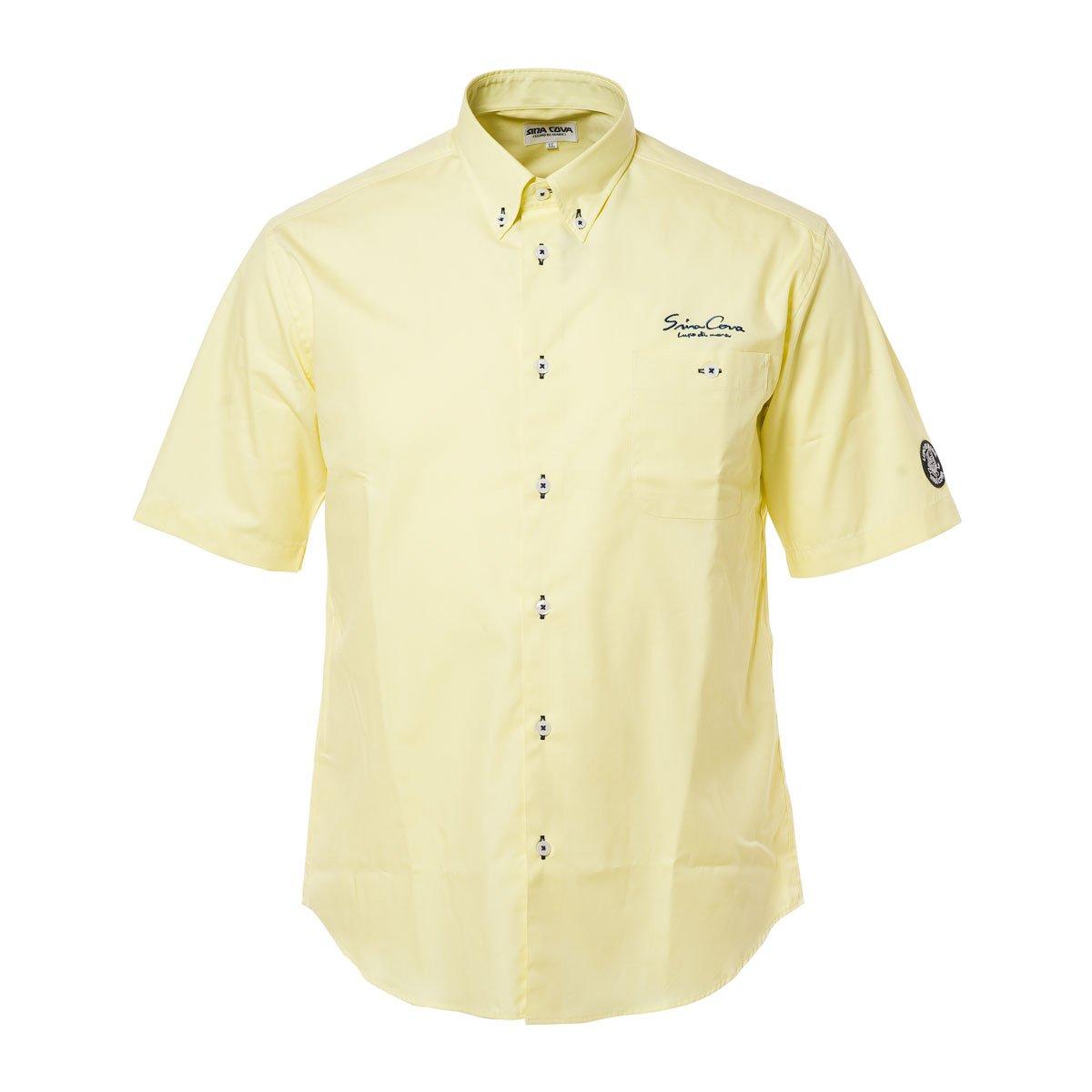 SINA COVA Men's Short Sleeve Shirt yellow Large Yellow by SINA COVA (Image #1)