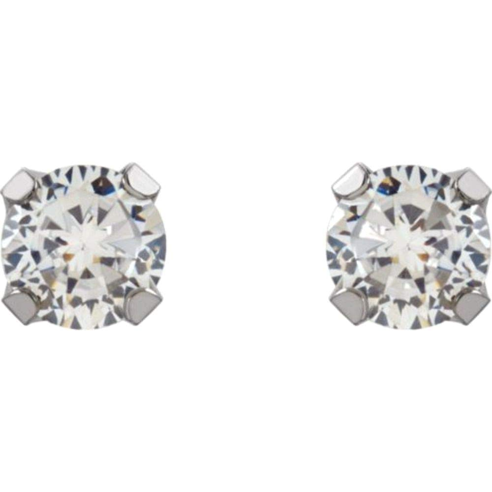 3mm CZ Piercing Earrings in 14k White Gold