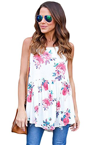 OUR WINGS Women White Blooms Floral Print Sleeveless Babydoll Tank (Full Bloom Cami)