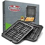 Kitchen Maestro Griddler Waffle Plates for Cuisinart Griddler – Nonstick, Dishwasher Safe, Lock-In Place, Black, made for GR-4N and GRID-8N Series