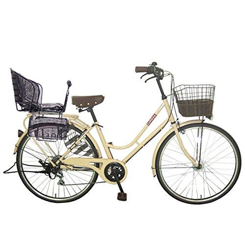 Lupinusルピナス 自転車 26インチ LP-266HA-knr-b シティサイクル LEDオートライト SHIMANO製6段ギア 後子乗せブラック B079DMGX3Lミルクティー