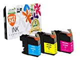 Compatible Brother LC103C/LC101C,LC103Y/LC101Y,LC103M/LC101M XL High Yield ink cartridge for DCP-J152W,MFC-J245,J285DW,J450DW,J470DW,J475DW,J650DW,J870DW,J875DW 3 pc LC103/LC101 Cyan,Yellow,Magenta