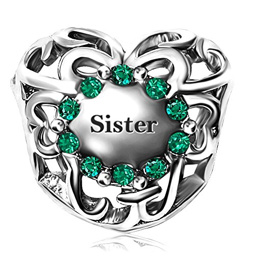 JMQJewelry Sister Heart Love Charm May Birthstone Mother Day Charms Bead For Bracelets May Birthstone Heart Charm
