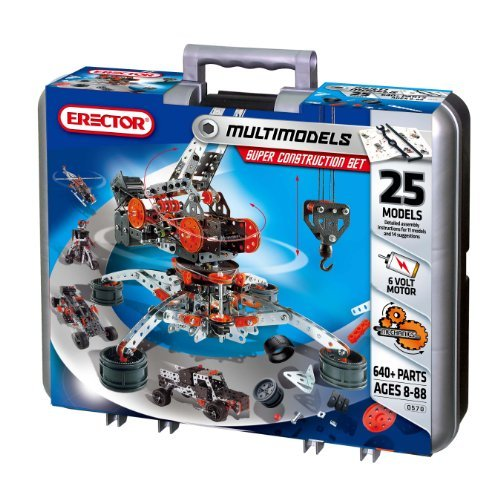 Erector by Meccano Super Construction Set, 25 Motorized Model Building Set, 638 Pieces, For Ages 10 and up, STEM Education Toy