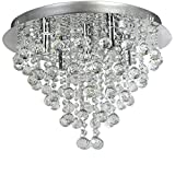Ella Fashion® Modern European Art Deco Crystal Rain Drop Flush Mount Ceiling Lighting Chandelier Fixtures for Kitchen Island Living Dining Study Room Bedroom Foyer Stairs Hallway with 5 Lights