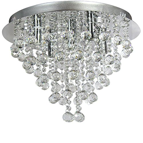 Art Deco Flush - Ella Fashion® Modern European Art Deco Crystal Rain Drop Flush Mount Ceiling Lighting Chandelier Fixtures for Kitchen Island Living Dining Study Room Bedroom Foyer Stairs Hallway with 5 Lights