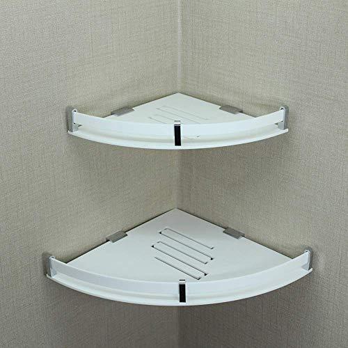 indiaplus Corner Bathroom Acrylic Wall Mounted Shelf Racks Accessories Shelves  White, 8 x 8, 10 x 10   Set of 2