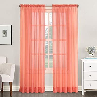 "No. 918 Emily Sheer Voile Rod Pocket Curtain Panel, 59"" x 84"", Coral - Classic sheer voile fabric Gently filters light while enhancing privacy Rod pocket design allows for easy hanging on a standard curtain rod - living-room-soft-furnishings, living-room, draperies-curtains-shades - 516EqwQhH0L. SS400  -"
