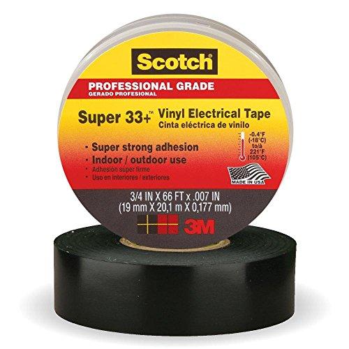 3M Scotch Super 33+ Vinyl Electrical Tape, .75-Inch by 66-Feet, 4-PACK -