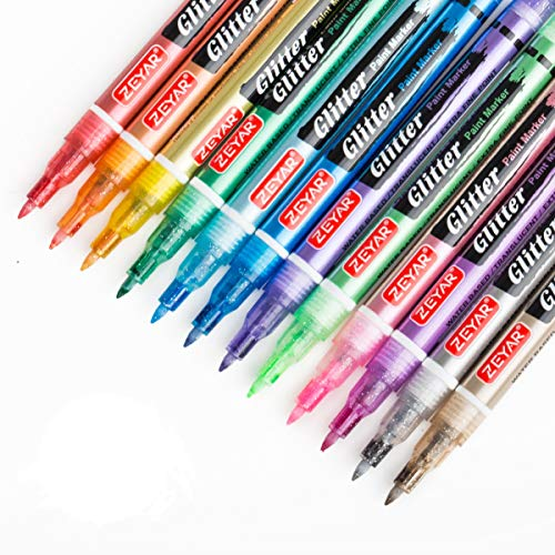 ZEYAR Glitter Paint Pens, Water Based, Extra Fine Point, Nylon Tip, 12 Colors, Great for Gift Card, Poster, Album, Christmas Card and More. Non-Toxic and Safe, Professional Paint Markers Manufacturer