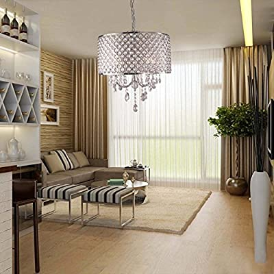 Modern Drum Crystal Chandelier Ceiling Lighting Pendant Lamp Dining Living Room (item_by#newdealestore2012 >efns117112073446861