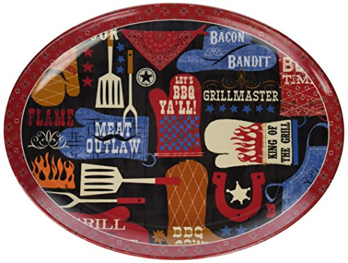 "Certified International Corp BBQ Bandit Melamine Oval Platter, 18"" x 13.5"", Multicolor"