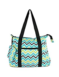 Ever Moda Blue Green Chevron Tote Bag X-Large 21-inch