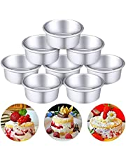 M-Aimee 8 Pieces 4 Inch Round Aluminum Cake Pan Set Non-Stick Round Cheesecake Baking Pans for Home Party Baking Supplies