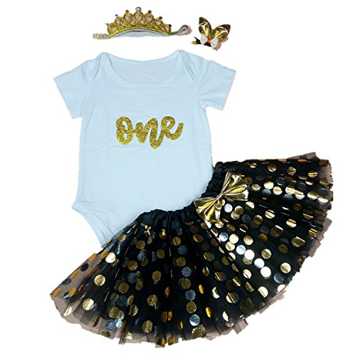 ESIINOY 4PCS Baby Girl 1st Birthday Halloween Black Tutu Outfit Newborn Party Dress XL -
