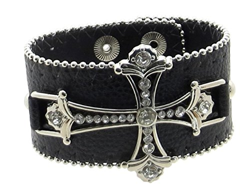 Leather Bracelet Cuff Rhinestone Cross and Edge Beading (Black)