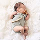 Hacloser Baby Pacifier Holder Clip, Natural Wooden Beads Nursing Teether Dummy Chain Gift for Infant Kids (14mm/0.55''-B)