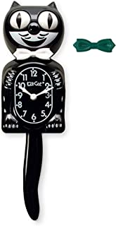product image for Kit-Cat Classic Black Clock with White and Green Bow Ties