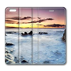 iPhone 6 Leather Case, Personalized Protective Flip Case Cover Evening Sea Scenery for New iPhone 6