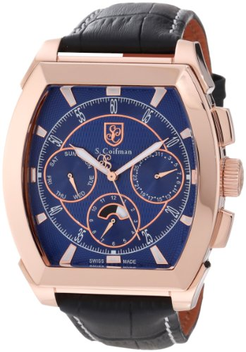 S. Coifman Men's SC0091 Blue Textured Dial Black Leather Watch ()