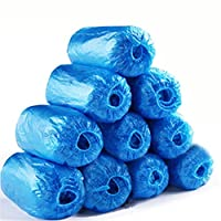 Accrie Outdoor Recreation Product 100Pcs Disposable Shoe Covers Elastic Waterproof Non-Slip Polyethylene Shoe Covers, One Size Fits More, Blue