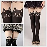 Fun Daisy Tights Stockings Cat Tail Tattoo Lovely Socks Lady Pantyhose (Black Cats)