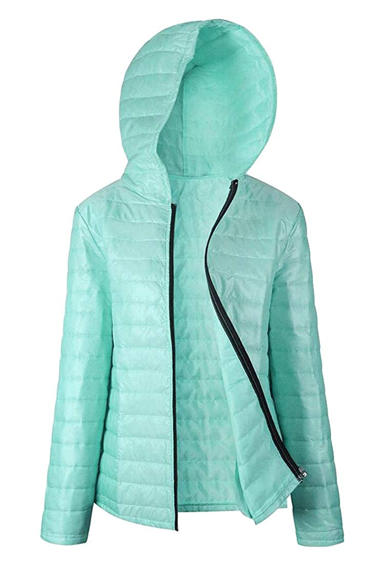 Domple Women Packable Ultra Zipper Quilted Hooded Lightweight Down Jackets