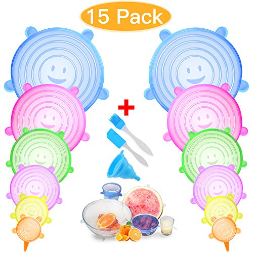 FLY2SKY Silicone Lids 12PCS Silicone Stretch Lids Various Sizes Cover for Bowl Containers Multicolor Food Storage Cover Microwave Dishwasher Freezer Safe 3 Bonus Silicone Brush Funnel ()