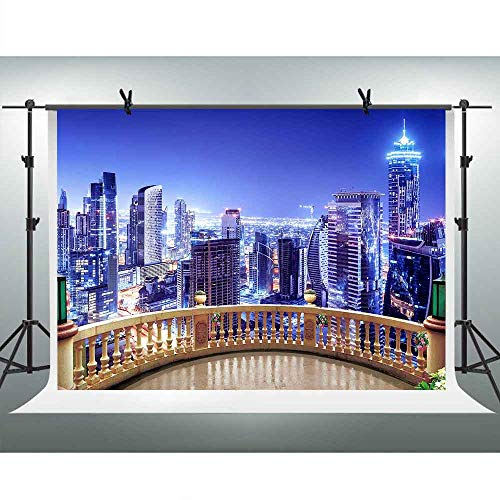 FHZON 10x7ft Metropolis Night View Photography Backdrops Rooftop Stand Background Themed Party YouTube Backdrop Photo Booth Props LSFH580 ()