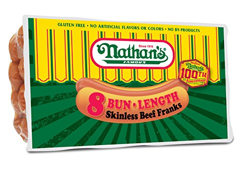 Nathan's Famous Original All Beef Franks, 8 Hotdogs Per Package, 3 Pack (Beef Hot Dog)