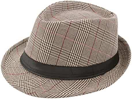 a4020ea811b9b Sumolux Mens Fedora Hat Hat Band British Style Light Weight Panama Cap  Summer Autumn