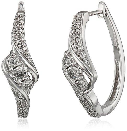 Sterling Silver Diamond Three Stone Earrings (1/4cttw, K-...