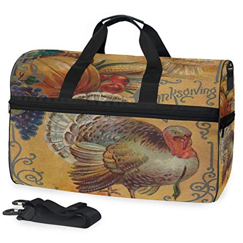(Gym Bag Thanksgiving Turkey Pumpkin Vintage Sport Travel Duffel Bag with Shoes Compartment Large Capacity for Men/Women)