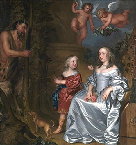 The Perfect Effect Canvas Of Oil Painting 'John Hayls - Portrait Of A Lady And A Boy, With Pan,1655-1659' ,size: 24x26 Inch / 61x65 Cm ,this Cheap But Art Decorative Art Decorative Canvas Prints Is Fit For Nursery Artwork And Home Gallery Art And Gifts (Scroll Ceiling Tile)