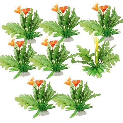 Amazon.com : eDealMax DE 8 piezas de plástico de la hoja Pecera ornamento Submarino Flores/planta : Pet Supplies