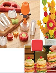 JIAO-6 in 1Pop Chef Fruit Mould Tools Carve patterns Tools Fruit Cake Shape Maker