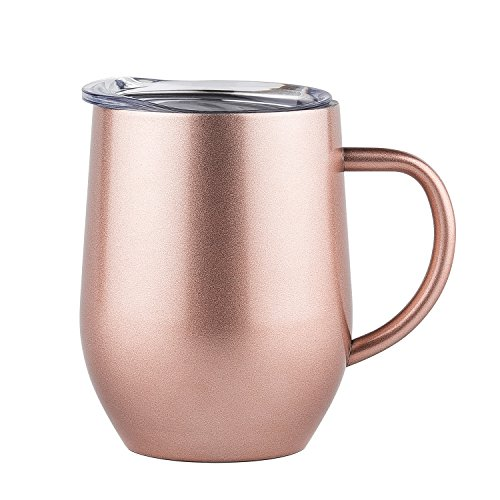 DOKIO 12 oz Insulated Mugs With Handles Coffee Cups Tumbler Wine Glass Cup Rose Gold Party Copper Stainless Steel Double Wall Vacuum Insulated With Crystal Clear Lid Shatterproof
