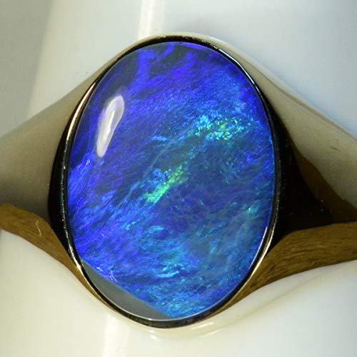 3.38 carats SOLID LIGHTNING RIDGE BLACK OPAL IN SOLID 14K WHITE GOLD 15047 ()