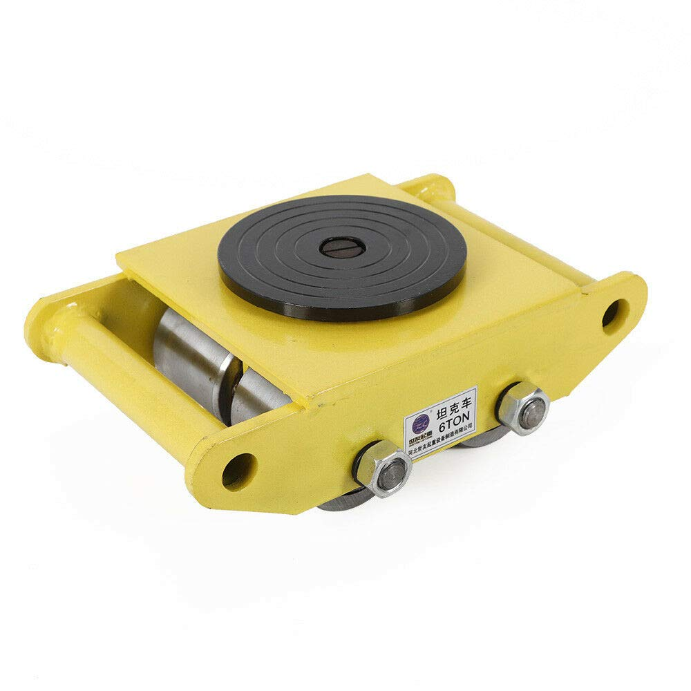 Industrial Machinery Mover 13200lbs 6T Dolly Machinery Skate w/Steel Rollers Cap 360 Degree Rotation (Yellow)