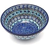 "Polish Pottery Bowl - Medium Nesting (6 1/2"") - Aztec Sky"