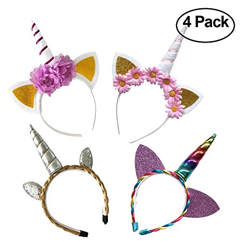 4 Pack - Original Unicorn Horn Headband, Super Cute Unicorn Headbands, Perfect for Party Decorations, Unicorn party supplies, Great Unicorn Gifts, One size fits ALL, Delicately Hand Crafted, Perfect for Unicorn Themed Parties]()