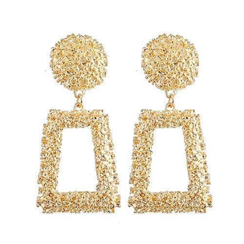 Hollow Geometric Large Square Dangle Earrings Metal Statement Drop Earrings Punk Bohemian Raised Textured Design Big Hoop Earrings for Women Fashion Jewelry (Gold Rectangular Earring)
