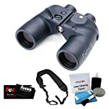 Bushnell 7x50 Marine Waterproof Binoculars with Analog Compass + Micro Fiber Cleaning Cloth + Wide Strap + 5 Piece Cleaning Kit