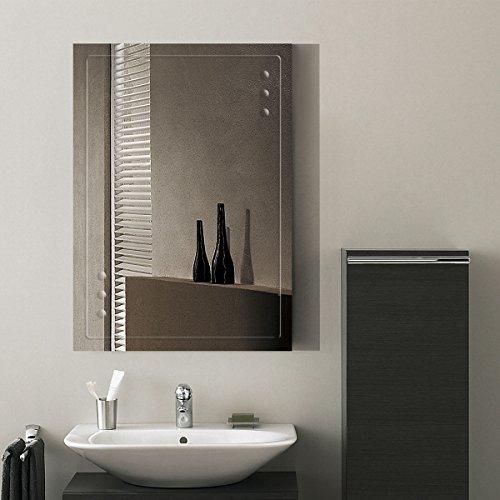 DECORAPORT 28''20'' Frameless Wall-mounted Bathroom Silvered Mirror Rectangle Vertical Vanity Mirror (A-B047B) by Decoraport