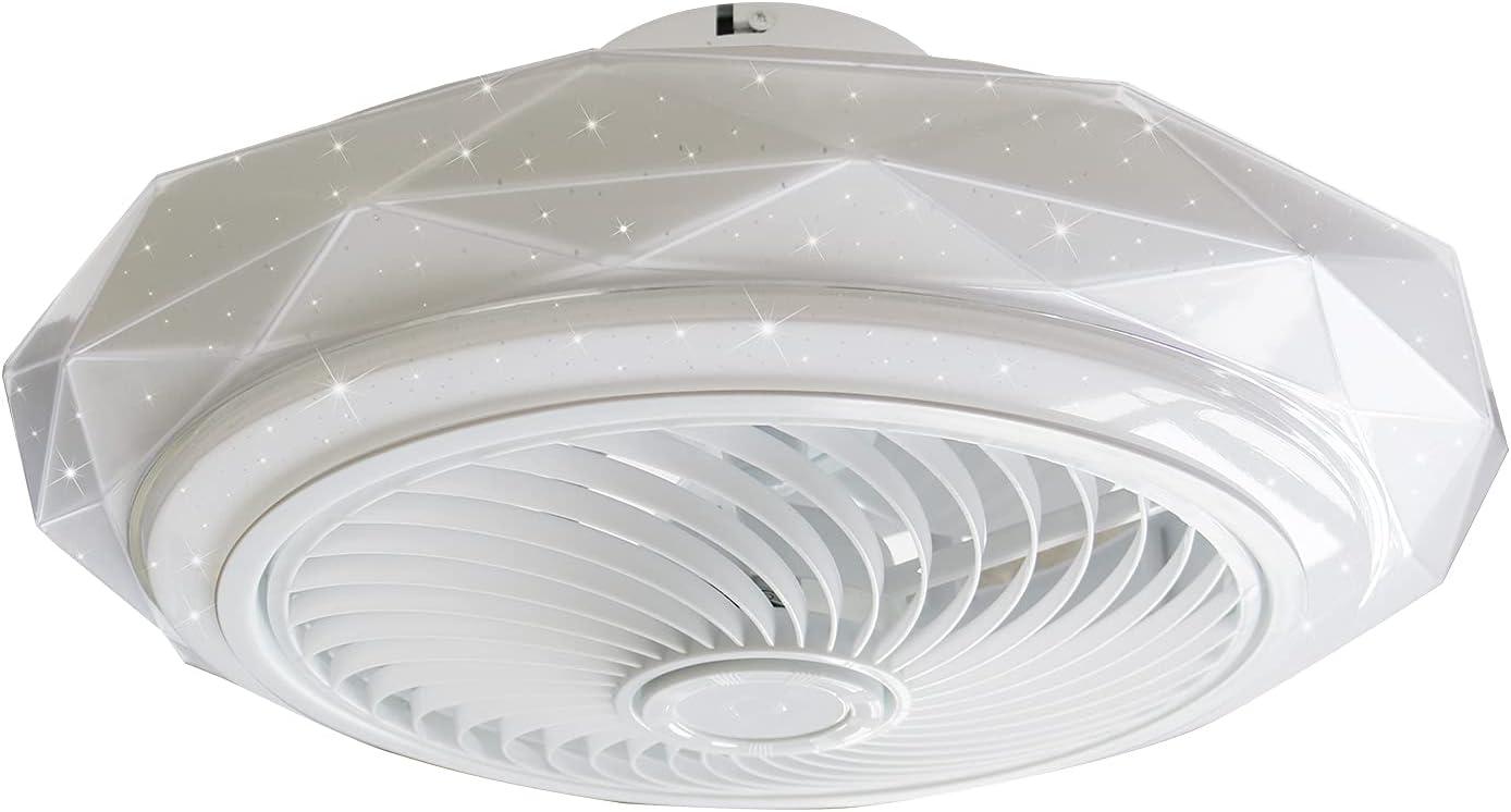 Ceiling Fan Light, Modern Ceiling Fan with Light Remote Control Chandelier Fan Dimming Ceiling Light Low Noise Flush Mount for Bedroom Living Room Restaurant US