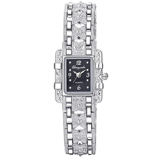 SIridescentZB Reloj Mujer Moda Mariposa Rhinestone números árabes Cuadrado dial de Cuarzo Negro: Amazon.es: Relojes