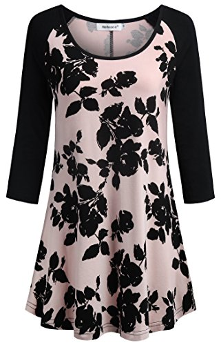 Helloacc 3 4 Sleeve Shirts for Women,O Neck Curved Hem Cute Flowy Long Tunic Tops for Woman Cowl Formal Rayon Tops Boutique Embellished Nice Blouses for Teen Girls Country Shirts for Mom Pink Black M - Floral Embellished Tee