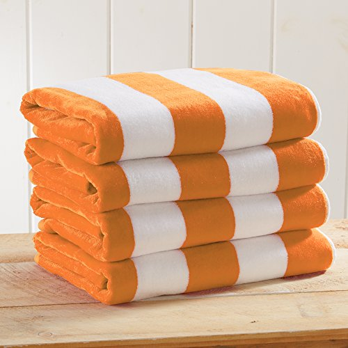 - Great Bay Home 4-Pack 100% Cotton Plush Cabana Stripe Velour Beach Towel (30x60) Brand. (Orange)