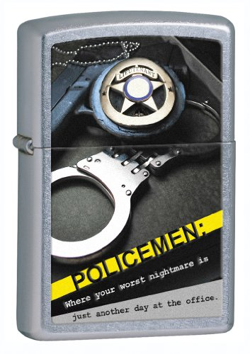 Badge Handcuff - Zippo Street Chrom Police Badge handcuffs Lighter (Silver, 5 1/2 x 3 1/2-Cm)